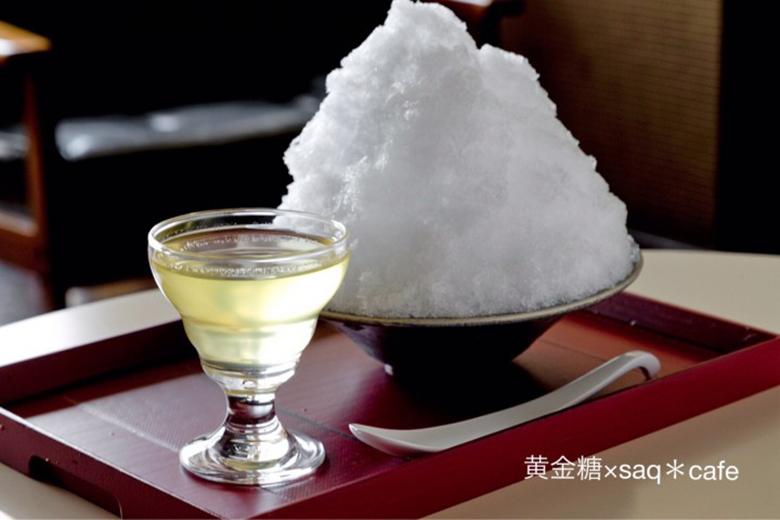 「黄金糖」とコラボした「saq*cafe」のかき氷(900円)