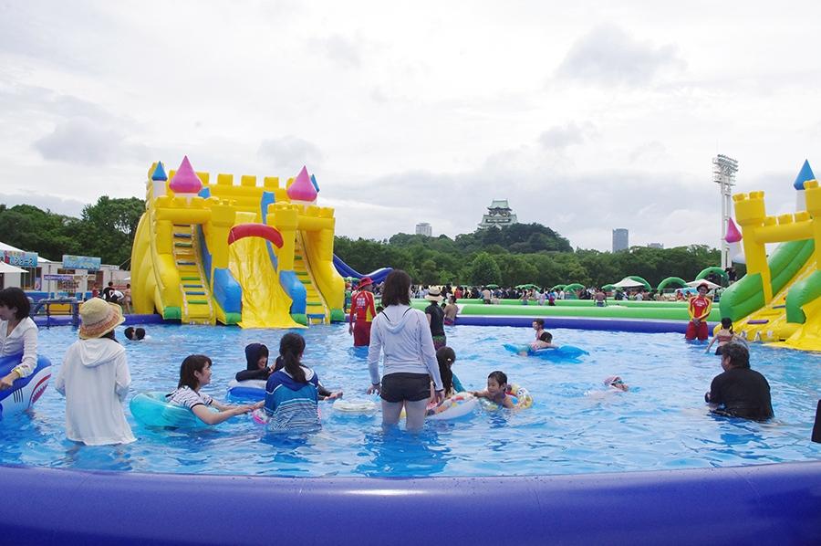 大阪城公園・太陽の広場に登場した『ウォーターパーク in 大阪城』