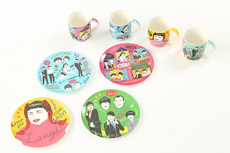 ポップでカラフルなマグカップ432円、メラニンプレート432円(by イフクカズヒコ)