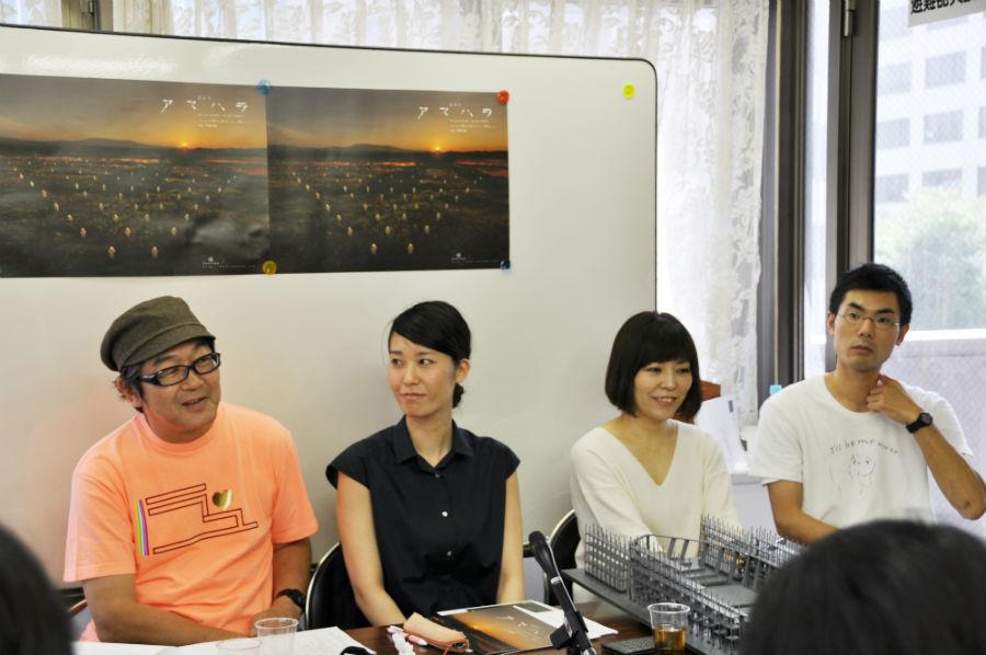 左から、会見に出席した内橋和久、山﨑佳奈子、平野舞、金子仁司