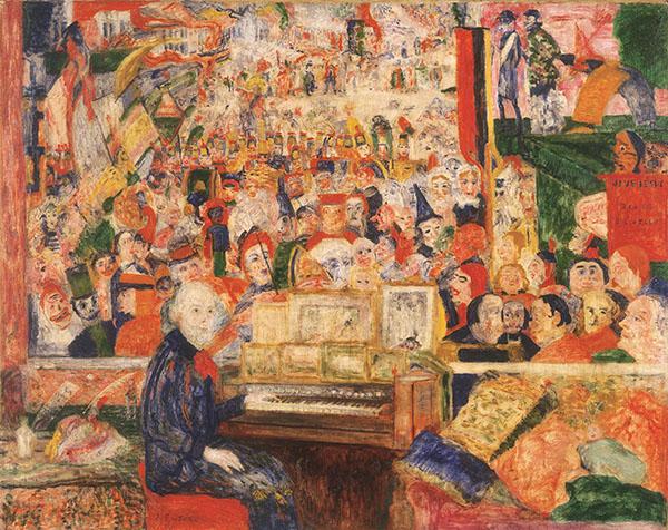 ジェームズ・アンソール《オルガンに向かうアンソール》1933年 メナード美術館