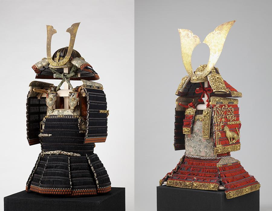 国宝 黒韋威矢筈札胴丸、国宝 赤糸威大鎧(竹虎雀餝 )。精密な金工、鮮やかな色彩の組ひもなど、当時最高峰の技術が結集した甲冑