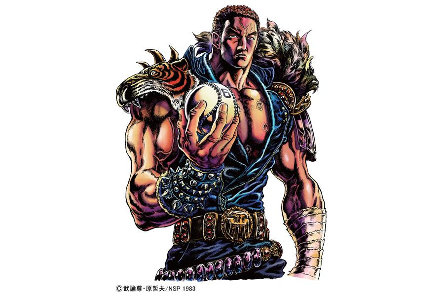 虎の肩当に、ベルトのバックルにはTHマークが。このイラストが、デザインされたクリアファイルやTシャツ、スマホスタンドなどが販売される
