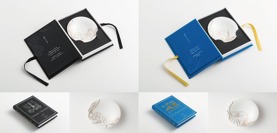 「黒執事×SIONE POTTERY BOOK」の「Sebastian」(左)と「Ciel」。なかにはキャラクターが各々に贈ったメッセージが添えられる