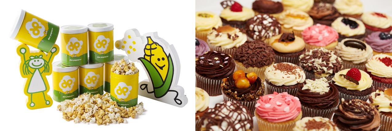 左から「ドックポップコーン」「ローラズ・カップケーキ」