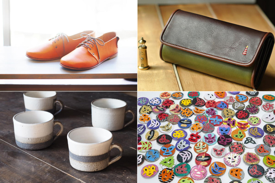 ハンドメイドのオーダーシューズなどの本格革グッズや陶器・・・心のこもったアイテムが揃う