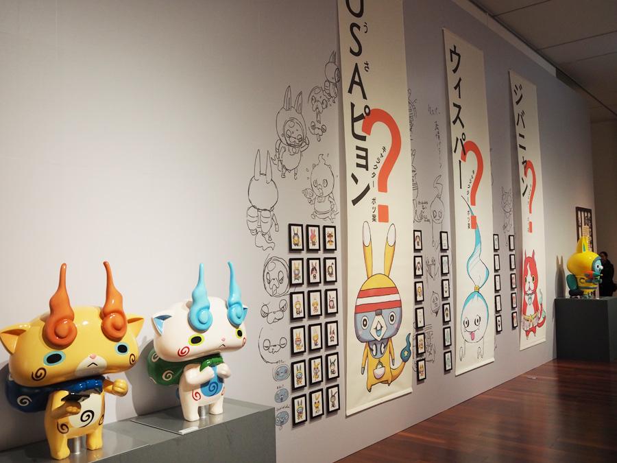 妖怪ウォッチのコーナーでは、貴重なキャラクターのボツ案がたくさん展示