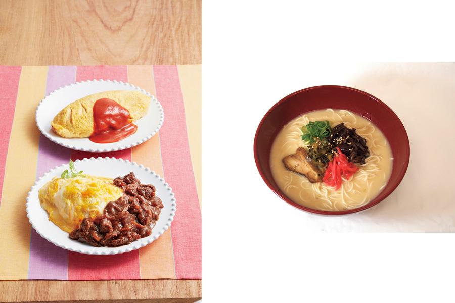 左は驚くほど早い調理スピードでも人気を集めた「玉子丸」のオムライスと牛すじデミグラス580円。右の「うまかラーメン」はしょうゆ、みそ、とんこつの3種類