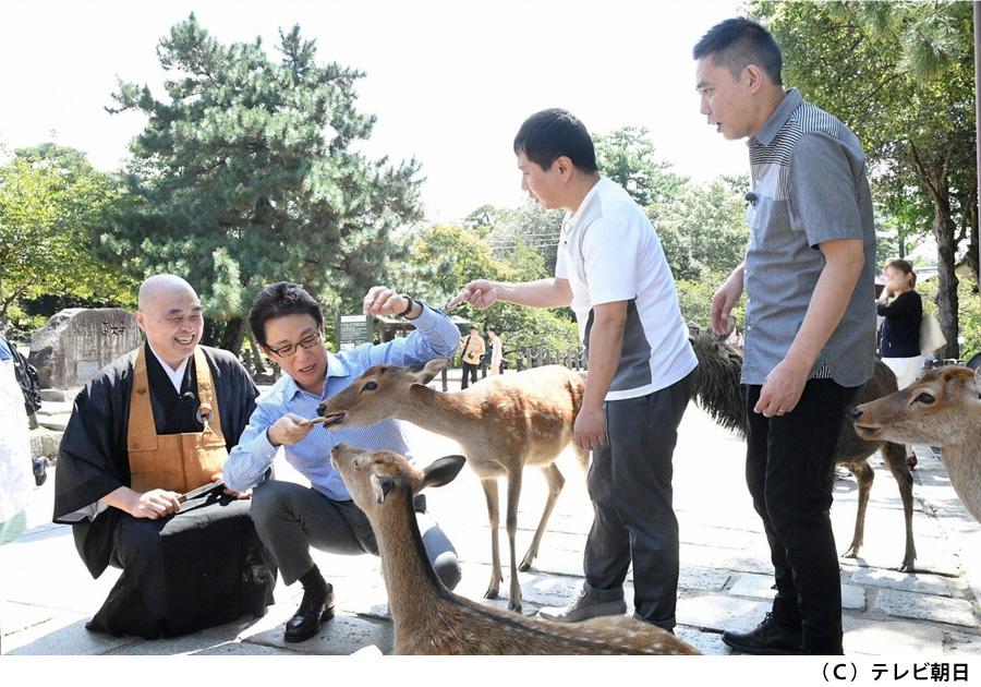 東大寺の参道にて鹿に餌をやる出演者たち