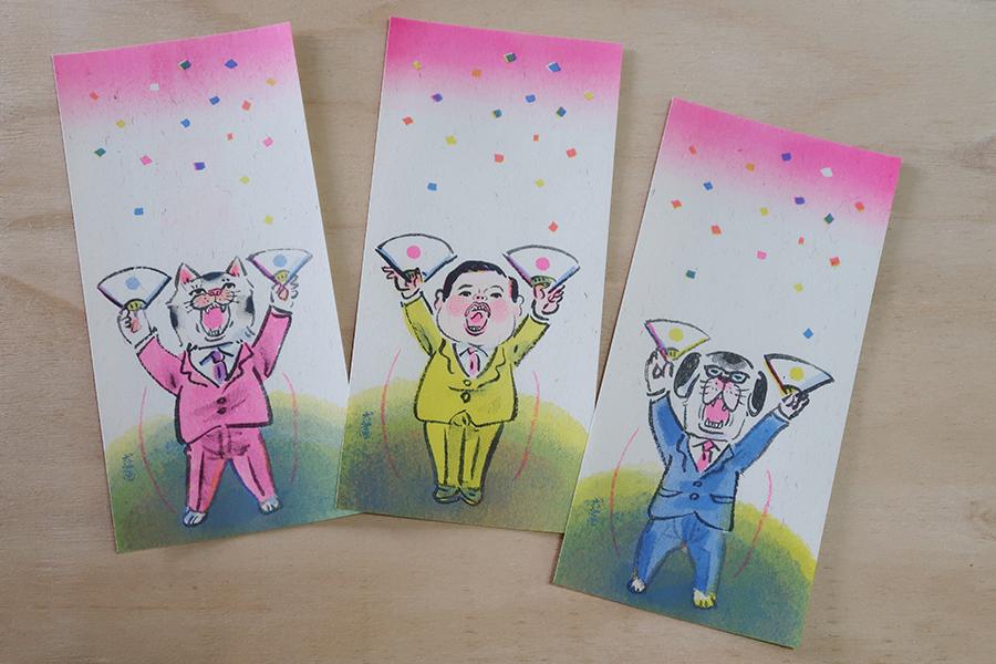 1回目の一筆箋展を企画するきっかけとなったいぬんこさん。3柄各4枚入り324円