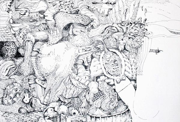 小松原智史《コマノエ》(部分) 墨、ジェッソ、キャンバス 182.0×145.4cm 2016年【本展出品作品】