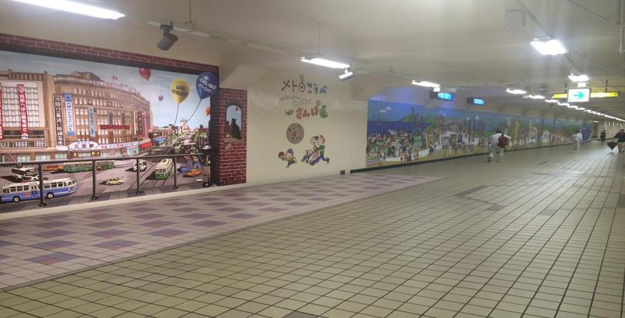 完成した壁画。全長は45mにもおよぶ