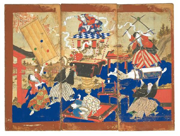 《絵看板》軽業・足芸一座(国立民族学博物館蔵)