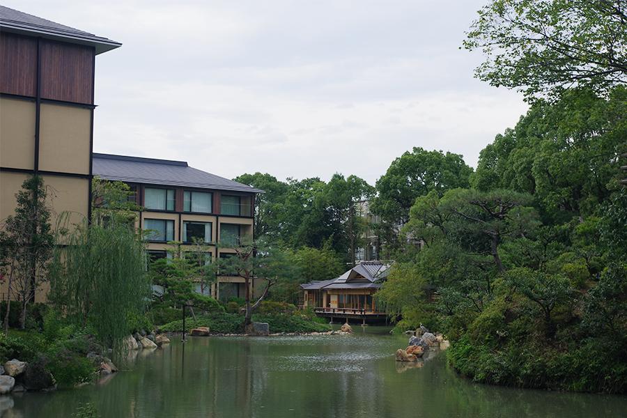 奥に見えるのが茶室。夜は庭園がライトアップされ、シャンパン&日本酒バーとしても利用できる