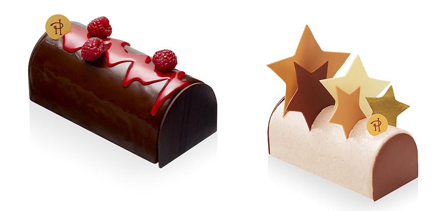 左から「ザ・リッツ・カールトン京都」限定のクリスマスケーキ「ビュッシュ クロエ」、そして星座をイメージした「ビュッシュ オマージュ」12/17〜25に販売、どちらも100台限定