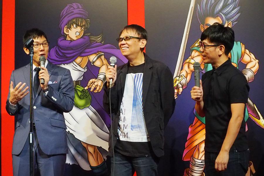 シリーズ生みの親である堀井氏に、ドラクエ大好き芸人のバッファロー吾郎の竹若、ザ・プラン9の浅越ゴエは興奮