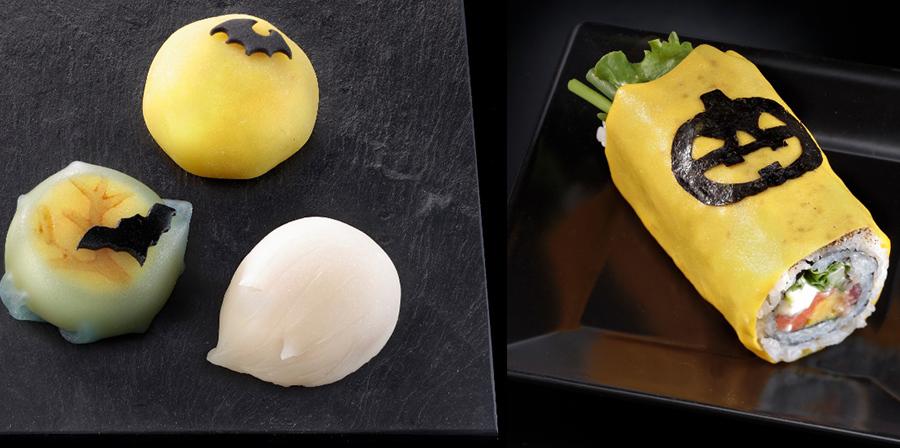 亀屋良長による「生菓子」(左・378円〜)とスシアベニューK'sの「ピリッ辛サーモン野菜ロール」(432円)