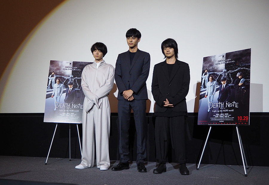 左から菅田将暉、東出昌大、池松壮亮。3人が初めて揃っての舞台挨拶となった(11日・梅田ブルク7)