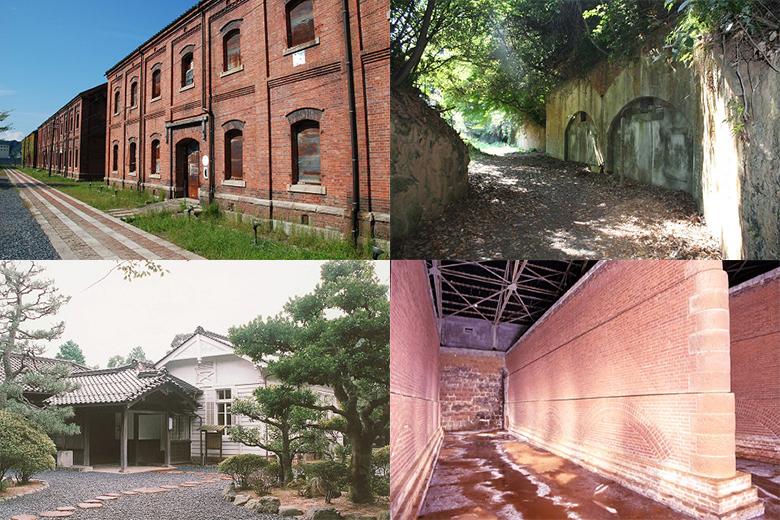 左上から時計回りに、「旧舞鶴鎮守府軍需部倉庫」、「葦谷(あしだに)砲台跡」、「旧北吸浄水場配水池施設」、「東郷邸(旧舞鶴鎮守府長官官邸)」