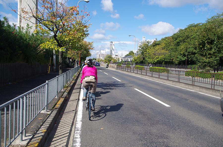 堺市の町を散歩するようにゆっくりと自転車で散走する『SAKAI散走フォーラム』の参加者たち(29日)