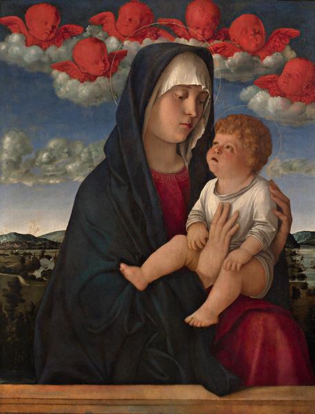 ジョヴァンニ・ベッリーニ《聖母子(赤い智天使の聖母)》 油彩/板