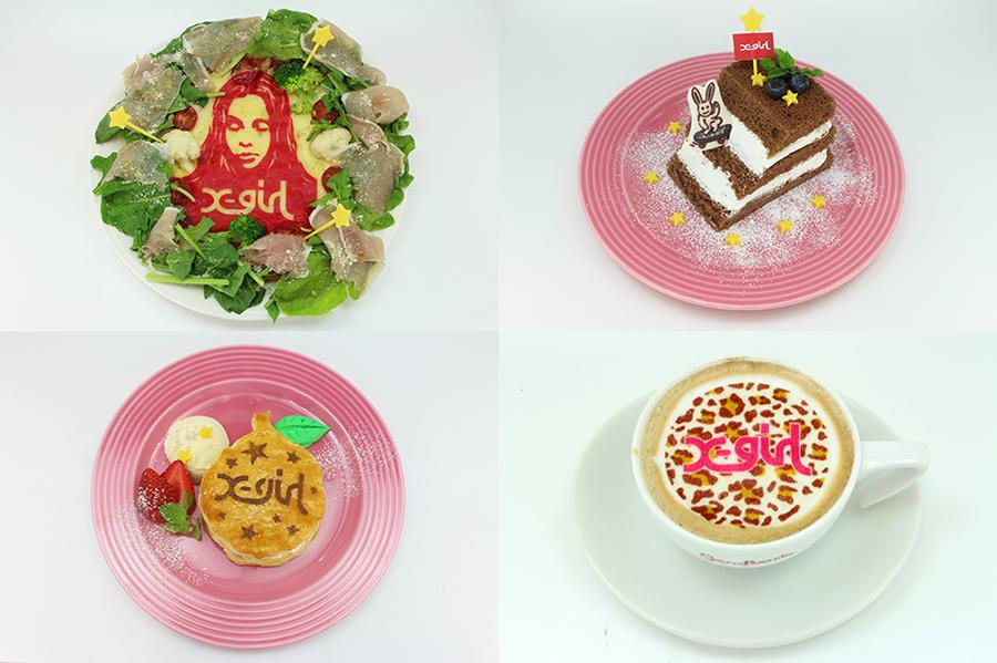 左上から時計回りに、生ハムとルッコラのピザ、ランプ型ティラミス、カフェラテ、アップルパイ