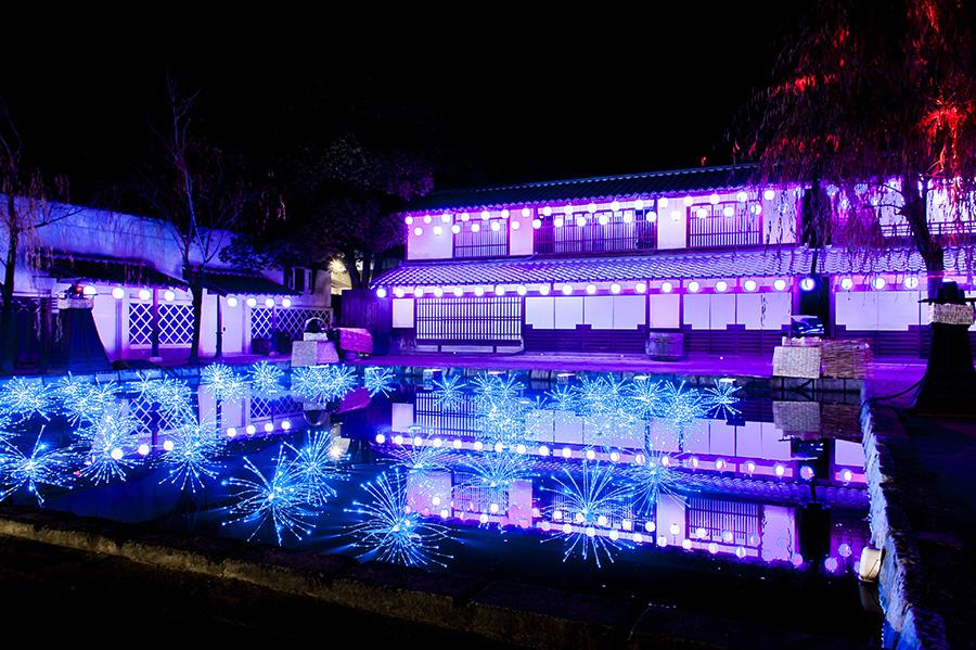 江戸の川辺の水面が美しく輝くライトアップ(写真はイメージ、東映太秦映画村)