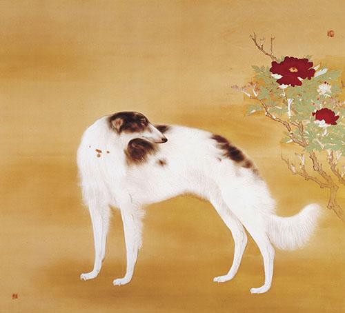 コレクション第1号 橋本関雪《唐犬》(右扇) 昭和11年(1936) 大阪市立美術館蔵