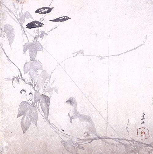 朝顔に鼬図(部分) 長沢蘆雪筆 草堂寺蔵 重要文化財