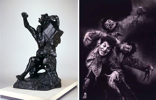 (左)オーギュスト・ロダン《オルフェウス》1892年 (右)ハナヤ勘兵衛《ナンデェ!!》1937年 個人蔵