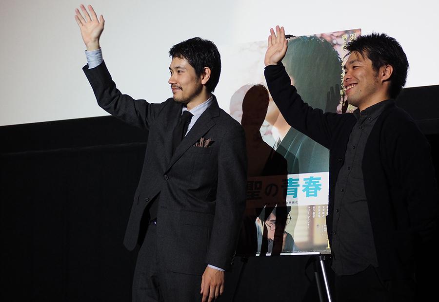 映画『聖の青春』の舞台挨拶をおこなった松山ケンイチ(左)と森義隆監督(8日・なんばパークスシネマ)