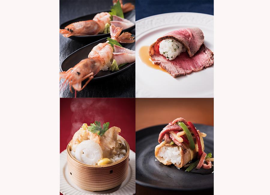 右上から時計回りに、ローストビーフSUSHI(夜限定)、チャーシュー巻き寿司、ふかひれ蒸し寿司、ねじめ黄金カンパチと海老のはみだし寿司(夜限定)