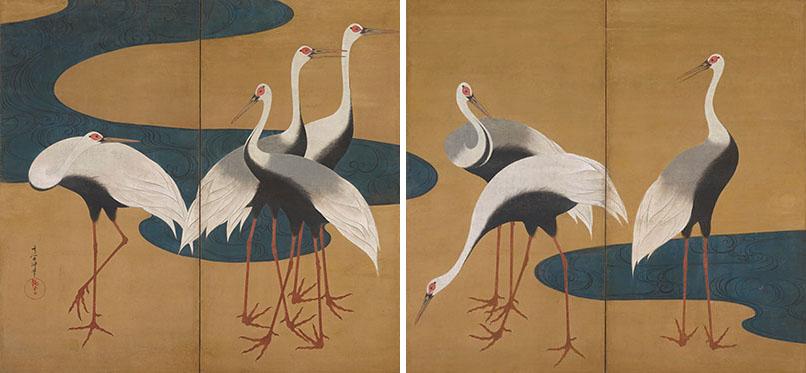 《群鶴図屏風》 江戸時代後期 紙本金地着色 ファインバーグ・コレクション
