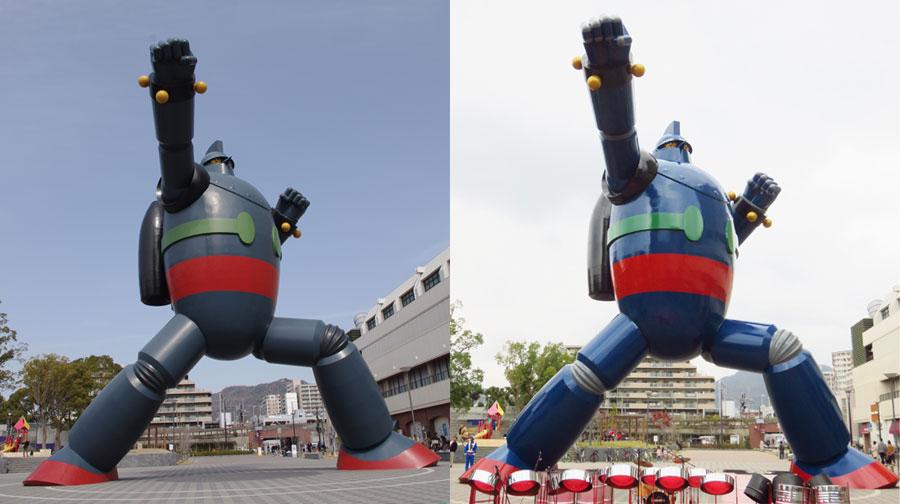 右が今回お披露目された新カラーの鉄人28号、左は旧カラー(6日、神戸市長田区)©光プロ/KOBE鉄人PROJECT