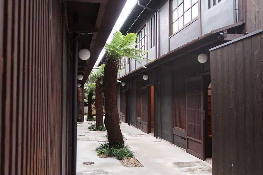 10棟が並び、それぞれ異なる部屋が楽しめる。植物は、プラントハンターの西畠清順さんが担当。ロゴやのれんは、アートディレクターの高岡一弥さんによるもの