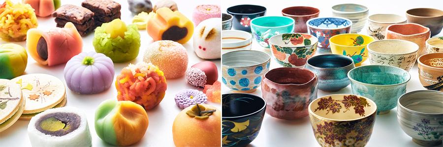 100種の京菓子と100種の茶器とともに抹茶を楽しめる