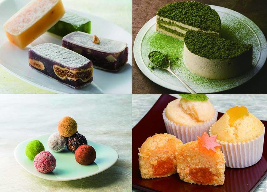 右上から日本茶専門店が作る「抹茶ティラミス」、なにわ伝統野菜の餡を使って浮島風に仕上げた「ふ和り」、「すはまジュエリー」、「創作きんつば」が登場予定