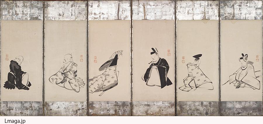 六歌仙図押絵貼屏風 伊藤若冲筆