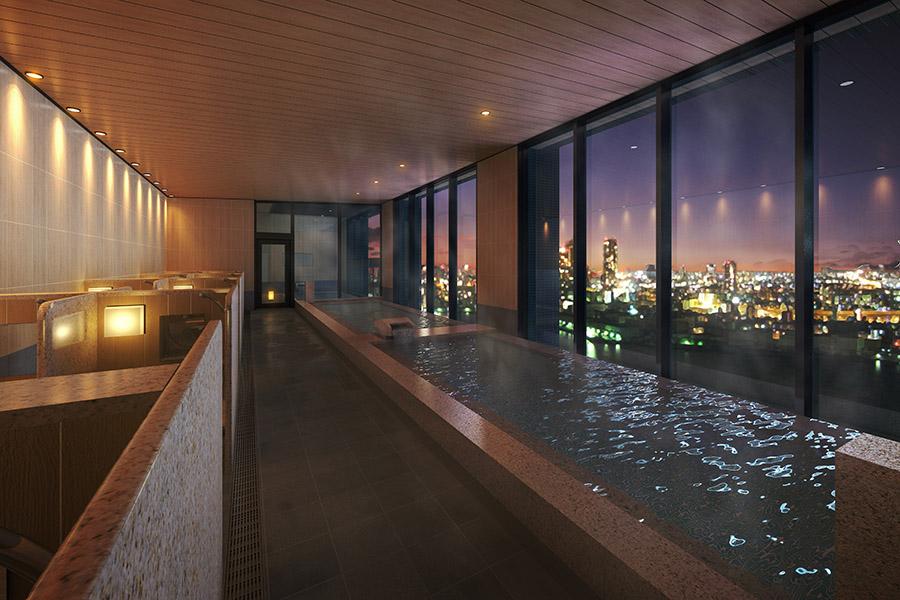 夜景を眺めながらお風呂(イメージ図)