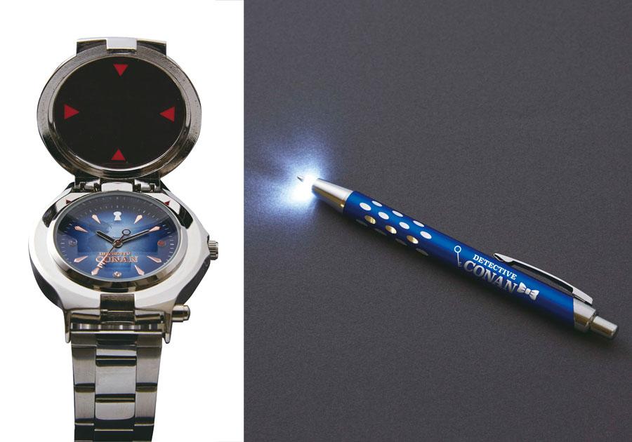 左から「本商品は腕時計であり、麻酔機能はありません」と但し書きされた「腕時計型麻酔銃」と「ライト付ボールペン」