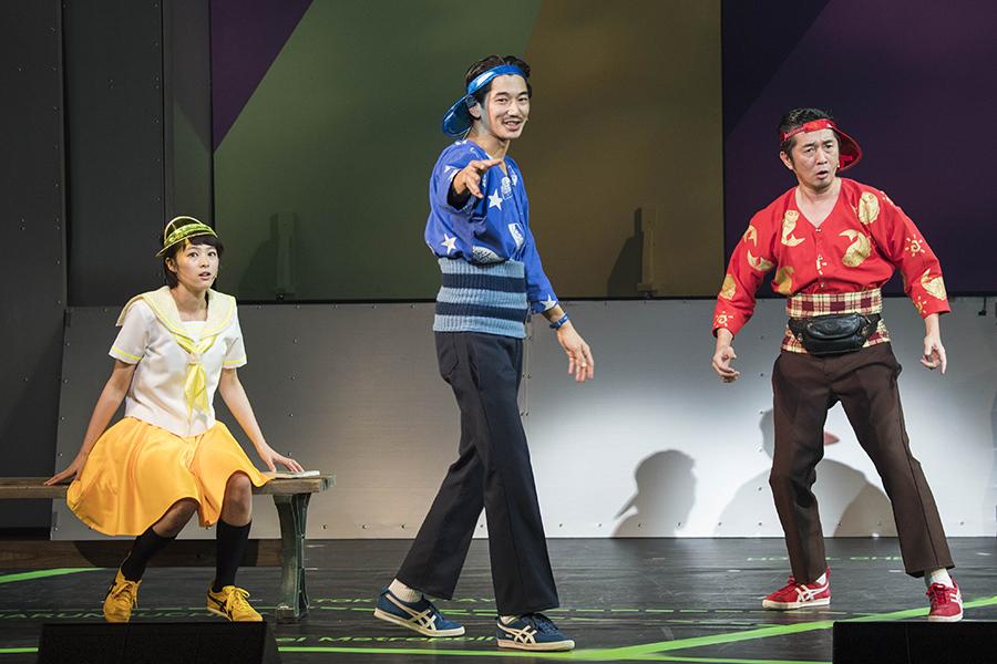 ロックオペラ『サンバイザー兄弟』より、左から清野菜名、瑛太、増子直純(怒髪天) 写真/引地信彦