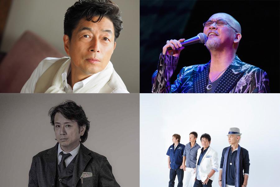(左上から時計回りに)中村雅俊、松山千春、TUBE、藤井フミヤらVol.2に出演するアーティスト