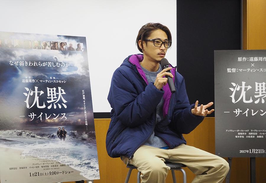 大学内の施設でのトークイベントに出席した俳優・窪塚洋介(16日・関西学院大学)