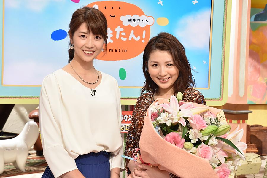 再登板の虎谷温子アナ(左)と産休にはいる吉田奈央アナ