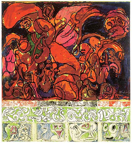 ピエール・アレシンスキー《写真に対抗して》 1969年 アクリル絵具、キャンバスで裏打ちした紙 ベルギーINGコレクション © Pierre Alechinsky, 2016/国立国際美術館、1月28日より