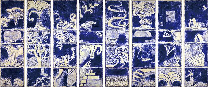 ピエール・アレシンスキー《ボキャブラリー Ⅰ-Ⅷ》1986年 アクリル絵具、キャンバスで裏打ちした紙 作家蔵 © Pierre Alechinsky, 2016/国立国際美術館、1月28日より