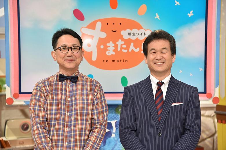 メーンキャスターの辛坊治郎(右)と森たけし読売テレビアナウンサー