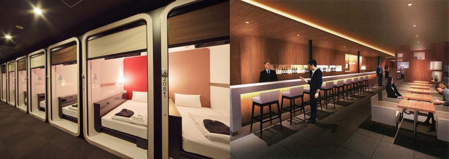 必要な機能はそのままに滞在空間をコンパクトに凝縮したビジネスクラスキャビン(左)と宿泊利用者でなくとも気軽に立ち寄れる飲食スペース