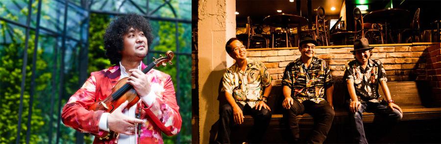 新たに発表された(左から)葉加瀬太郎、BEGIN