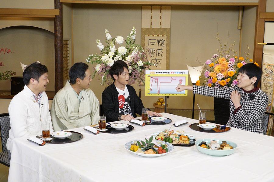 左から、月亭方正、月亭八方、陣内智則、ゲストの和田アキ子